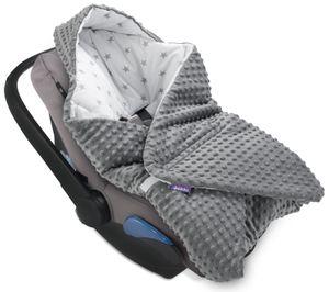 JUKKI® Baby EINSCHLAGDECKE 90x90 cm MINKY mit Kapuze [graue Sterne] für Babyschale Decke Kinderwagen Kindersitz ⭐EU