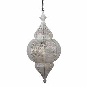 Casa Moro Orientalische Lampe Jamila weiss gold mit Kette Baldachin & E27 Fassung | Marokkanische Hängelampe | LN2020