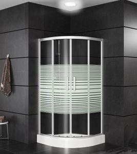 OIMEX Viertelkreis Rund Duschkabine Eckeinstieg Duschabtrennung Schiebetüren aus Echt-Glas ESG mit Tasse und Gestell, Größe: 90 x 90 x 195cm, Version: mit Sichtschutz
