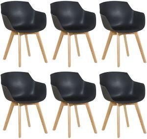 HJ 6er Set Sessel Skandinavisch Wohnzimmerstuhl Modern Esszimmerstühle mit solide Buchenholz Bein schwarz