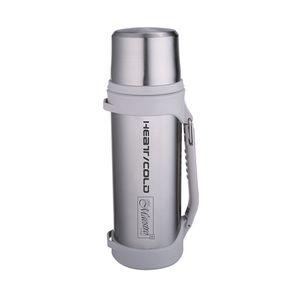 Thermosflasche 1,5 Liter silber Isolierflasche Thermoskanne ideal für Unterwegs Edelstahl