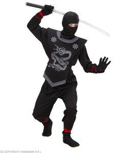 Kostüm schwarzer Ninja komplett Kinder Ninja - Kinderkostüm M - 140 cm