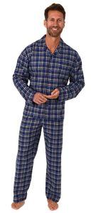 Herren Flanell Pyjama Schlafanzug langarm zum durchknöpfen -  202 101 15 601, Farbe:blau, Größe:56