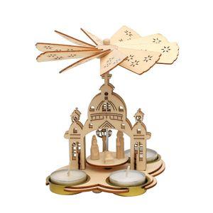 52 1468 Holz Teelichtpyramide Kirche SIGRO
