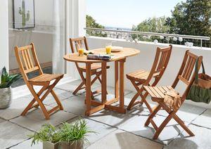 Balkonmöbel Set 5tlg Akazie Klapptisch 120 cm PEDRO/BLOOM