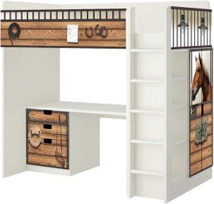 Pferdestall Möbelfolie - SH13 - passend für die Kinderzimmer Hochbett-Kombination STUVA von IKEA - Bestehend aus Hochbett, Kommode (3 Fächer), Kleiderschrank und Schreibtisch - (Möbel Nicht Inklusive)
