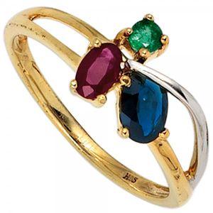 JOBO Damen Ring 585 Gold Gelbgold teilrhodiniert 1 Rubin 1 blauer Safir 1 Smaragd Größe 54