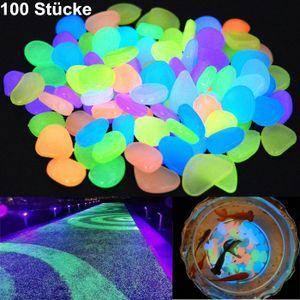 Miixia 100Stk Bunt Fluoreszierende Steine Leuchtkiesel Garten Dekosteine Leuchtsteine  Leuchtsteine. leuchtende Kiesel Fluoreszierende Steine für Aquarium Ggarten Hof Dekorationen