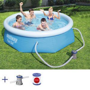 BESTWAY Fast Set Pool Rund Swimmingpool mit Filterpumpe Filter  244x66cm