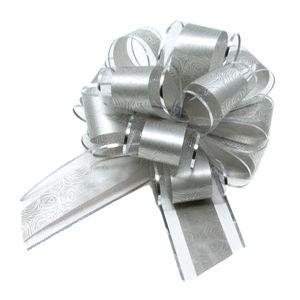 Oblique Unique Geschenkschleife Deko Schleife für Geschenke Tüten Zuckertüte Weihnachten Geschenkdeko - silber