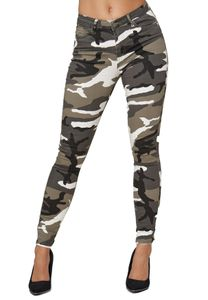 Damen Skinny Stretch Jeans High Waist Basic Design Röhren Jeggings Hose Camo Tarnmuster, Farben:Khaki, Größe:38