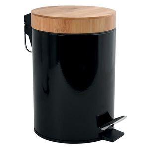 MSV Kosmetikeimer 3 Liter Edelstahl Bambus mit Absenkautomatik und Inneneimer Aza Badezimmer Mülleimer Softclose Abfalleimer Schwarz