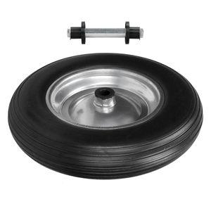 ECD Germany Schubkarrenrad aus pannensicherem PolyurethanVollgummi mit Achse - Reifen mit Stahlfelge - 3.50-8 - Ø350 x 80 mm - Schwarz - Ersatzrad Gummirad Schubkarren Rad