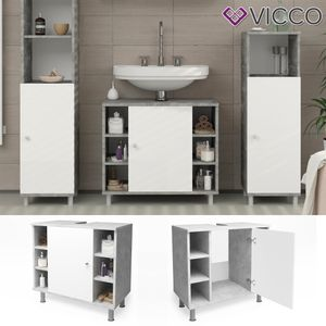 Waschtischunterschrank FYNN 60 cm Weiß / Grau Beton -  Badschrank Waschbecken Unterschrank Badmöbel