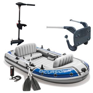 Intex Excursion 4 Schlauchboot Set inkl. Elektromotor & Halterung