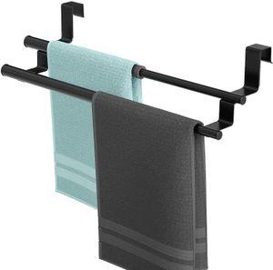 HLLCY HapiRm Handtuchhalter Tür, Geschirrtuchhalter Handtuchstange Teleskop für Küche und Badezimmer, an Schublade und Schranktür Handtuchklemme ohne Bohren, Edelstahl, 2 Stangen - 02schwarz