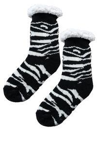 Warme Thermo Socken Gefüttert Kuschelsocken Anti Rutsch Sohle, Farben:Schwarz-3, Größe:38-41