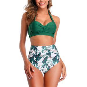 Abtel Damen y zweiteiligen Badeanzug Neckholder Bikini Set mit hoher Taille,Farbe:L,Größe:Grün