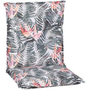 Gartenmöbel Auflage Piemont - Polsterauflage mit Halteband & Bindebändern, Größe:8x Niedriglehnerauflage, Dessin:Paradiesvogelblume
