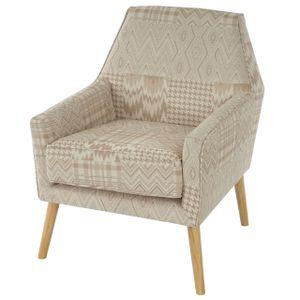 Sessel Vaasa T372, Loungesessel Polstersessel, Retro 50er Jahre Design, Stoff/Textil  beige/braun