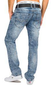 Herren Jeans Hose Destroyed Bleached Used H1676, Farben:Blau, Größe Jeans:31W