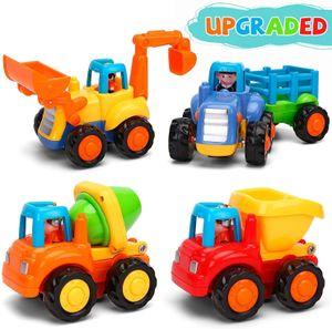 Baby Spielzeugauto Spielsachen Baufahrzeuge für Kinder 12 18 Monate, Spielzeug Auto für Kleinkind ab 1 2 3 Jahre, 4 in 1 Satz - Traktor, Bulldozer, Kipper, Zementmische