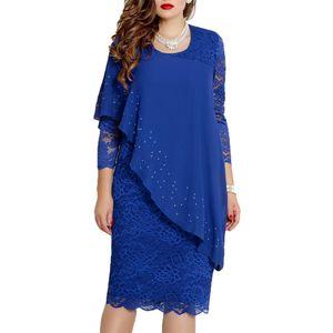 Elegantes Frauen O Ansatz 3/4 Hülsen-Partei-Bankett-dünnes knielanges Kleid XL