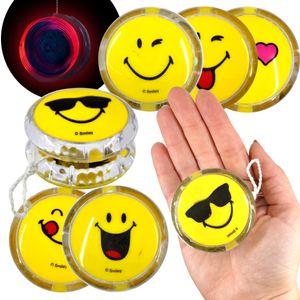 LED YoYo Smiley JoJo Lachgesicht Licht 5 cm Leuchtjojo Farbwechsel Blinklicht Mitgebsel