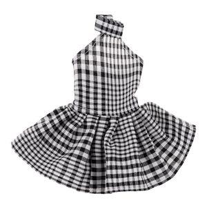 Mode Halfter Plaid Kleid Abendrock für 29cm Puppe verkleiden sich accs schwarz wie beschrieben