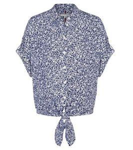TOMMY HILFIGER Esther Bluse florale Damen Knoten-Bluse mit Hemdkragen Blau, Größe:S