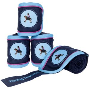 HKM Polarfleecebandagen -Funny Horses-, Farbe:6900 dunkelblau, Größe:100 cm