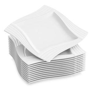 MALACASA, Serie Amparo, 12 teilig Teller Set Cremeweiß Porzellan Kuchenteller Dessertteller Frühstücksteller 8 Zoll / 20,5x20,5x1,8cm für 12 Personen