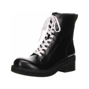 Calvin Klein Damen Stiefeletten Schnürstiefeletten Leder schwarz 40