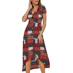 Womens Floral Printting Off Schulter Split Party Bodycon Slim Long Dress Größe:L,Farbe:Rot