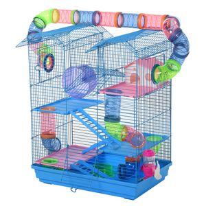 PawHut Hamsterkäfig Mehrebenen-Kritterkäfig Nagerkäfig Mäusekäfig, Hamsterkäfig-Starterkit, Blau, Metall+PP+PS 47 x 30 x 59 cm