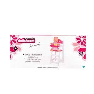 Puppenhochstuhl 53cm aus Holz weiß pink lackiert Puppen Hochstuhl
