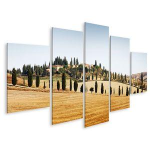 Bild Bilder auf Leinwand Typische Landschaft in der Toskana im Herbst Wandbild Poster Leinwandbild QAVF