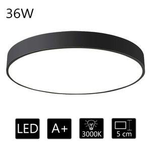 36W Deckenleuchte LED Deckenlampe ultra dünn runde Lampe warmweiss 3000k, für Wohnzimmer Arbeitszimmer Büro, 50*50*5cm (Schwarz)