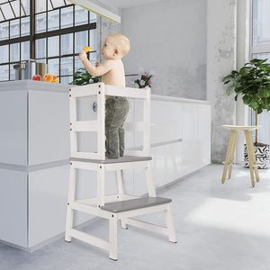 ONVAYA® Lernturm für Kinder   Learning Tower   Stehhocker   Helferturm   Lernstuhl aus Holz   Weiß-Grau