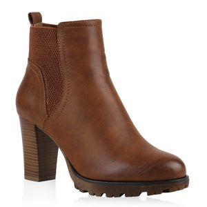 Mytrendshoe Gef?tterte Chelsea Boots Damen Block Absatz Stiefeletten 812569, Farbe: Hellbraun, Größe: 40