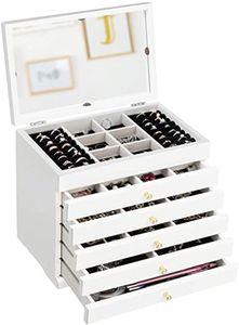 GOPLUS Schmuckschatulle mit Spiegel, Schmuckkästchen aus Holz, Schmuckaufbewahrung Weiß, Schmuckkoffer Kosmetikkoffer 6 Ebenen mit 5 Schubladen
