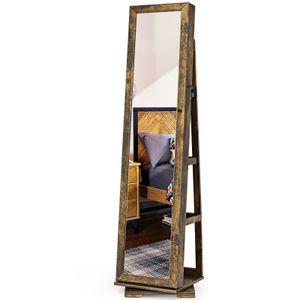 COSTWAY 2in1 Schmuckschrank&Leiterregal drehbar mit Ganzkörperspiegel und kleinem Schminkspiegelabschließbar Braun