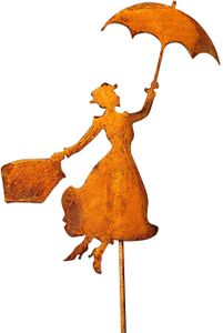 Gartenstecker Mary Poppins Metall Rost Gartendeko Edelrost rostiger Beetstecker 118cm