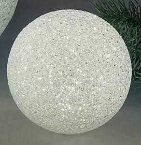 Dekokugel aus Kunststoff, weiß mit LED Beleuchtung, 12 cm