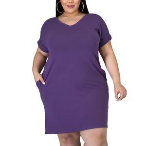 Damen V-Ausschnitt Einfarbig Übergröße Slim Kurzarm T-Shirt Kurzes Kleid Größe:XXXXL,Farbe:Lila
