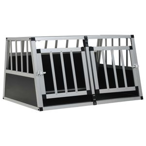 Hundebox Hundetransportbox Hundekäfig | Transportbox Welpenauslauf für Hunde mit Doppeltür 89 x 69 x 50 cm