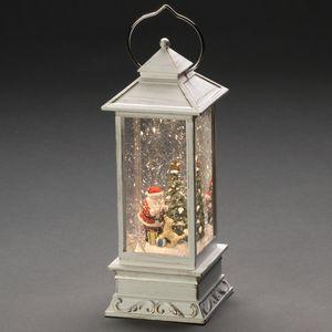 """LED Wasserlaterne """"Weihnachtsmann mit Hund"""", weiß, wassergefüllt, 5h Timer, warm weiße Diode, batteriebetrieben, Innen"""