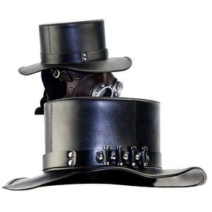 Zylinder,Pest Doktor Gothic Steampunk Kunstleder Zylinder Hut Kappe Maskerade Kostuem Requisiten,Schwarz