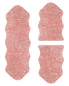 misento Bettumrandung Kunstfellteppich 3-teilig 55 x 80/160 cm Rosa Fellimitat Fellteppich vegan Hochflorteppich