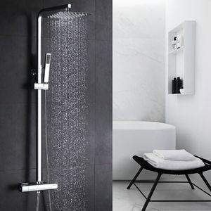 Chrom Dusche Duschsystem mit Thermostat, 2 Funktionen Duschset Regendusche inkl. Edelstahl Kopfbrause, Handbrause, verstellbarer Duschstange, Duschpaneel Duschgarnitur Duschsäule Duscharmatur